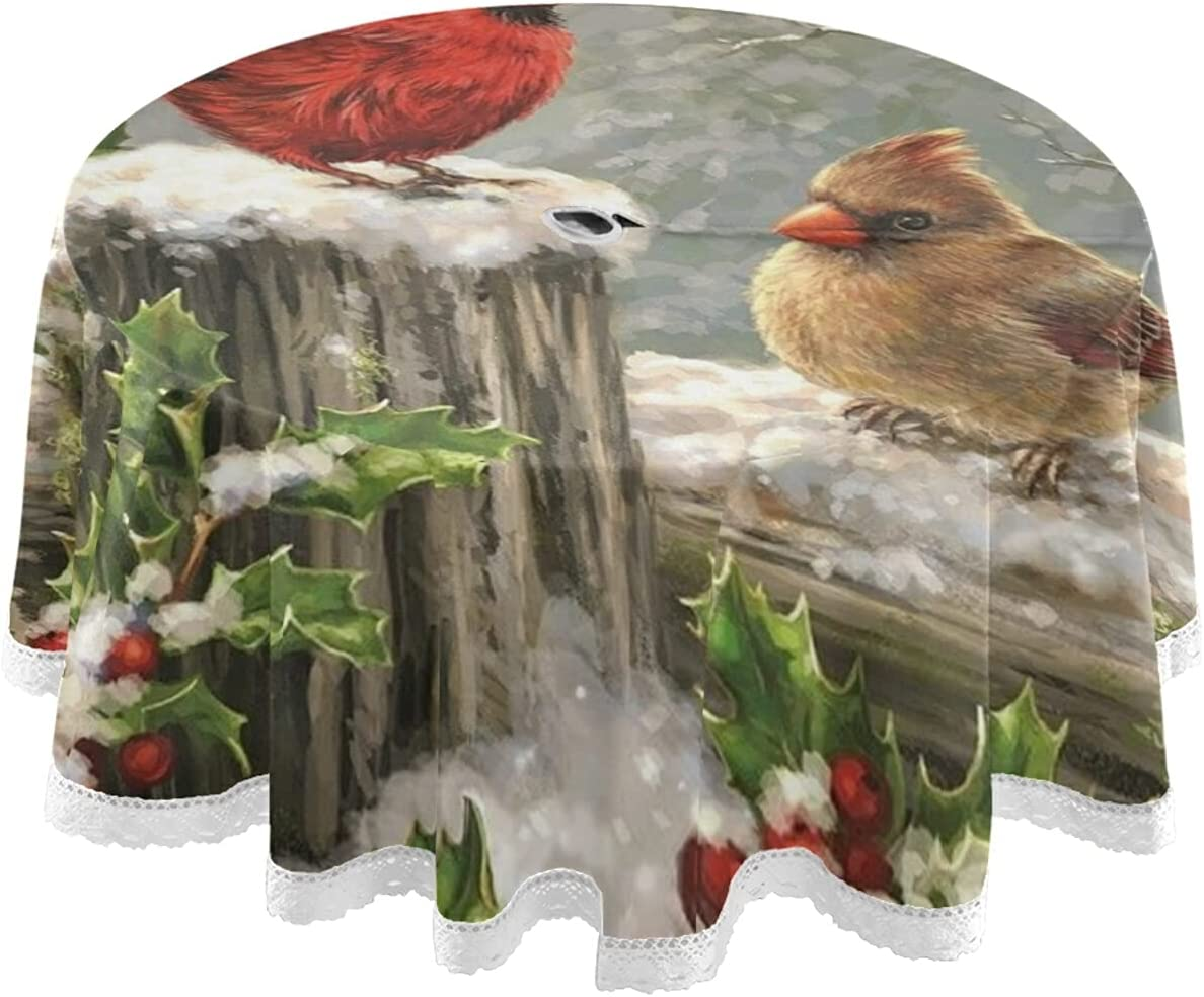 STAYTOP Ranking TOP4 Two Birds Snow Round Charlotte Mall 60In Table Waterproof Tablecloth Cl