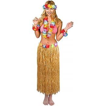 4 PIECE LEI SET HAWAIIAN LUAU PURPLE LONG HULA SKIRT 80CM WITH FLOWER DETAIL