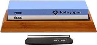 Kota Japan Combination Dual Sided 2000-5000 Grit Diamond Knife Sharpener Whetstone Set for Coarse Sharpening & Fine Polishing. Water Stone Kit   Adjustable Bamboo Holder Base   Precision Blade Guide