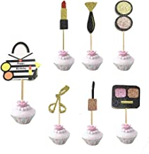 Stechop Creative Makeup Cupcake Toppers, Happy Birthday Party Cake Decoration for Girls 18th Birthday Party
