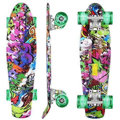 WeSkate 22zoll/55cm Mini Cruiser Skateboard mit LED Leuchtrollen für für Erwachsene Kinder Jungen und Mädchen