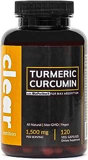 Turmeric Curcumin Supplement Capsules with Black Pepper (BioPerine for Maximum Absorption) Made with 95% Curcuminoids & Organic Turmeric Root Powder, Vegan, 1,500 mg