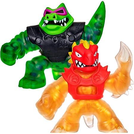 Heroes of Goo Jit Zu Coffret Duel avec Attaque Jet d'Eau - Coffret de 2 Figurines Dont Une dorée Blazagon vs Rockjaw 41053 Multicolore