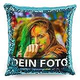 Tassendruck Foto-Kissen mit bedruckten blauen Wendepailletten Selbst gestalten (40 x 40 cm) - mit...