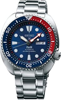 Seiko Men's Prospex Automatic Diver Silvertone Watch with Blue Bezel