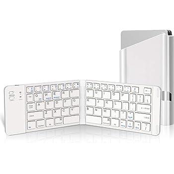 Levens Bluetooth キーボード 折りたたみ式 スマホ タブレット用キーボード ワイヤレスキーボード 財布型 超軽量 iOS/Android/Windows対応 USB充電 在宅勤務(ホワイト)