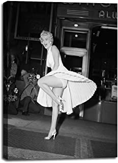 Marilyn Monroe Classic Dress Pose (Seven Year Itch) Pop Art Canvas Prints Sexy Woman Skirt Picture Black and White Vintage Poster Wall Decor for Bedroom Living Room Decoration Framed- 20