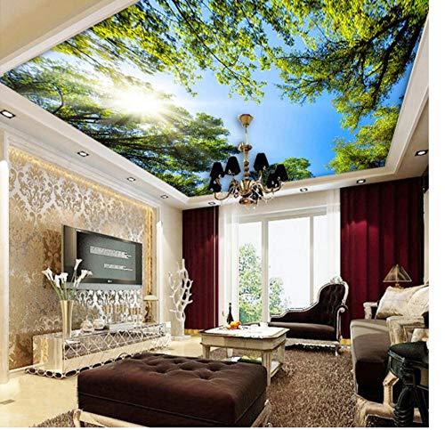 Deckenfresko Benutzerdefinierte 3D Wandbild Tapete Landschaft Himmel Deckenbild Tapete Sonnenlicht Grünen Wald Hotel Restaurant Wohnzimmer Hintergrund HD Wohnkultur
