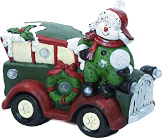 Alpine Corporation AJY348 Retro Car Statue with LED Lights Festive Indoor Holiday Décor for Home, 15-Inch Tall, Multicolor