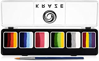 Kraze FX Splash Sampler Split Cake Palette - 6 x 6 gm, Body and Face Painting Palette, Hypoallergenic, Safe & Non-Toxic, Child Friendly, Ideal for Fairs, Party & Halloween