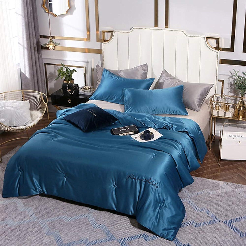 ZQYY Couverture Matelassée Bleue, Couette Soie 4 Saisons, Remplissage de Fibre de prougeéine de soja, Simple Double, Lavable,150  200cm