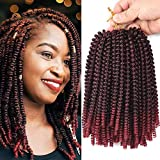 Refined Hair 3packs Ombre Spring Twist Hair 8Inch Crochet Braids Spring Curly Synthetic Braiding Hair Extensions Low Temperature Fiber 30Strands /pack(TBUG)
