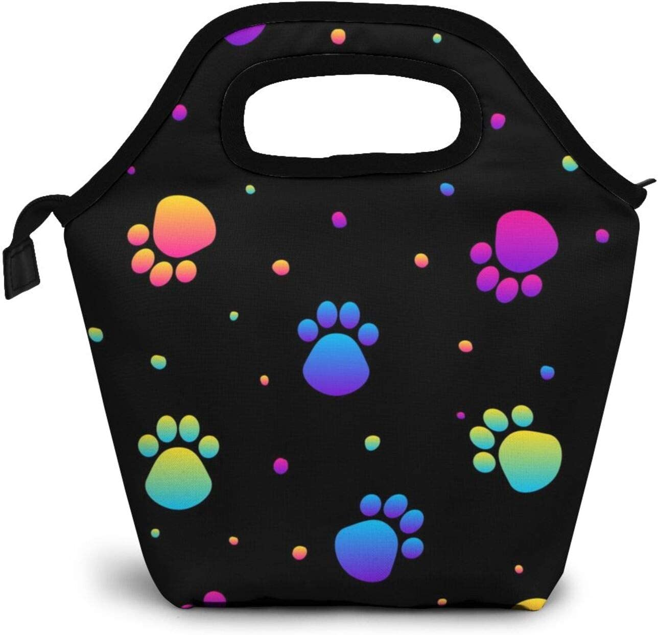 Colorful Dog Paw Print Lunch Box Insulated Meal Bag Cute Lunch Bag with Black Background ,Reusable Snack Bag Food Container Tote Bag.