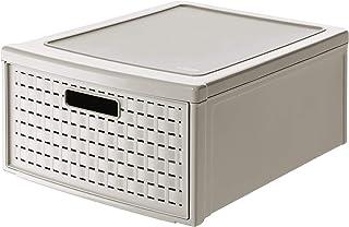 Rotho Country Boîte à Tiroirs 19,2L avec 1 Tiroir en Rotin, Plastique (PP) sans BPA, Cappuccino, groß/19,2L (45,0 x 34,0 x...