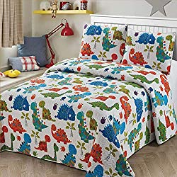 3. Luxury Home Collection 2-Piece Twin Baby Dinosaurs Quilt Set