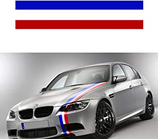PGONE Length 60-Inch Wide 6-Inch Germany France Italy Flag Stripe Car Hood Body Sticker for Audi BMW Mercedes Mini Porsche Exterior Cosmetic, Hood, Roof, Bumpers Decoration (Frence Flag)