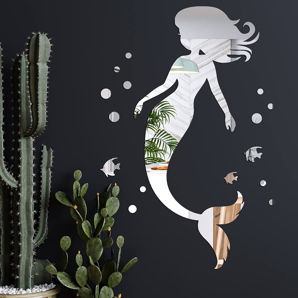 Mermaid Mirror Wall Decals 20 Inch Mermaid Removable Acrylic Fishes Bubbles Wall Stickers Silver DIY Art Mermaid Wall Decor for Kids Boys Girls Bedroom
