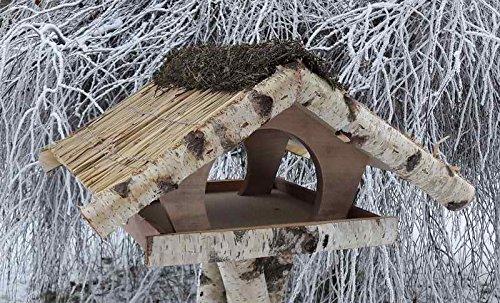 Vogelfutterhaus mit Reetdach,Ferienhaus groß mit Heidefirst