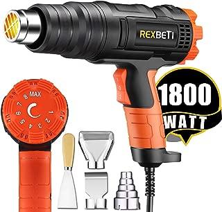 REXBETI 1800W Variable Temperature Heat Gun, 140℉-1210℉(60℃-654℃) High Power Hot Air Gun, Ergonomic Body Design, 3 Nozzle Attachments, Fast Heating In Seconds, No Smoke Issue, Perfect for Home Jobs