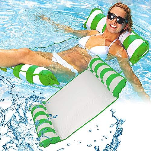 kunst für alle Aufblasbare Hängematte, Pool Float Lounge Wasserstuhl Wasser Hängematte 4-in-1 Ultrabequeme Luftmatratze Schwimmende Wasser Bett (Grün*2)