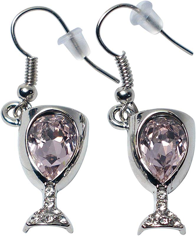 Prefen Alloy Wine Glass Earrings With Wine Tinted Crystal Fun Wine Gift