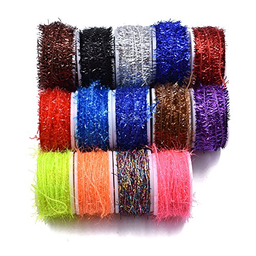 Phecda Sport 10 Spools Multi Colors Tinsel Chenille Line Crystal Flash Line Total 100M Fly Fishing Tying Material for Nymphal Bugs Scud (150 Spools-150M)