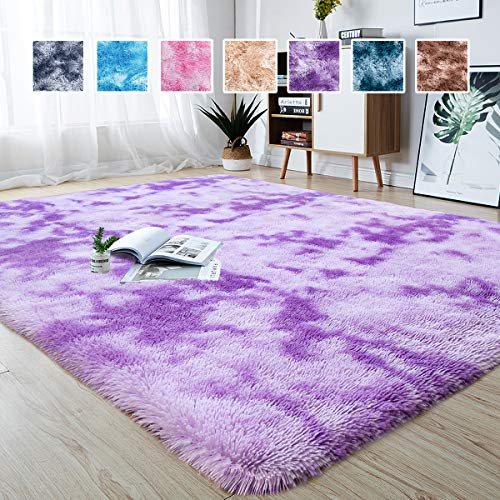 Junovo Modern Abstract Shaggy Area Rugs Fluffy Soft Bedroom Rug for Kids Nursery Girls Boys Ultra Comfy Shag Fur Carpets Nursery Room Living Room Furry Decor Rugs, 4 ft x 6 ft, Purple