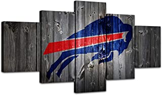 MIAUEN Wall Decor Canvas Art Buffalo Bills Pictures Prints Posters 5 Piece Painting for Living Room Framed Home Sports Fan Prints Posters Decoration Ready to Hang(60''Wx32''H)
