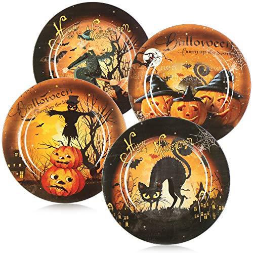 com-four Plato Decorativo 4X Halloween - Platos Decorativos para Servir con Motivos geniales - Tazón de refrigerio para Halloween y Fiesta con Lema [la selección varía]