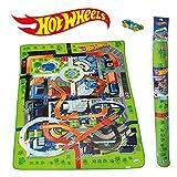 ODS 42028 Hot Wheels - Alfombra de juego y muebles, Dinosaurios en el color de la ciudad
