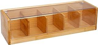 VITA PERFETTA Boîte à Thé 5 Compartiments en Bambou, Boîte de Rangement pour Les Sachets de Thé (36 x 11 x 9 cm)