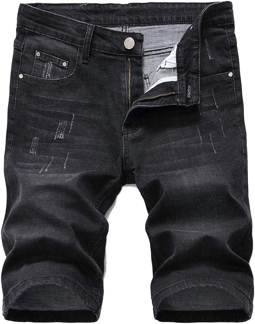 R-Hansets Men's Ripped Short Biker Jeans Fashion Black Gray Denim Shorts Clothes