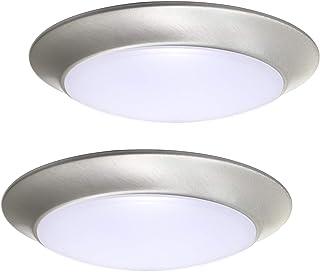 Yeuloum LED Flush Mount Ceiling Light Fixture, 3000K/4000K/5000K Adjustable, Dimmable, 7 Inch, 11.5W 900 Lumen, Aluminum Housing Plus PC Cover, 2-Pack (Nickel Finish)