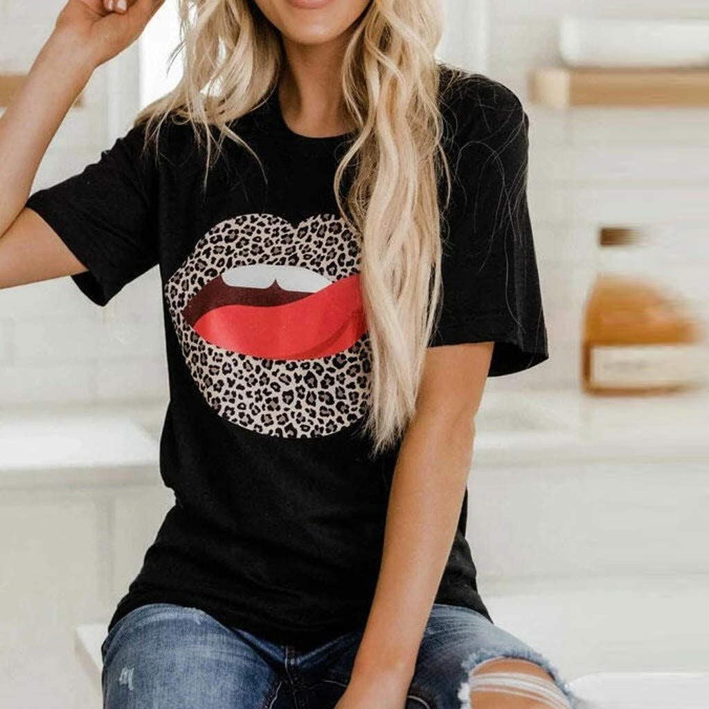 iYmitz Damen Mode Lose Oansatz Spitze Rundausschnitt Art- und Weise Frauen Kurzarm Herz T-Shirts Drucken Tops Bluse Shirts A2-schwarz