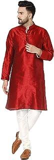 SKAVIJ Men's Tunic Art Silk Kurta Pajama Set Indian Traditional Wear