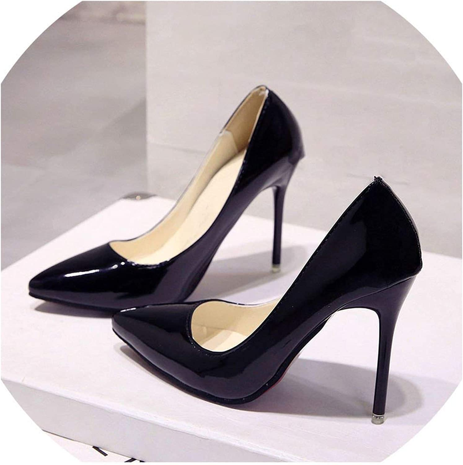 Women shoes Pointed Toe Pumps Patent Leather Dress High Heels Boat shoes Wedding shoes