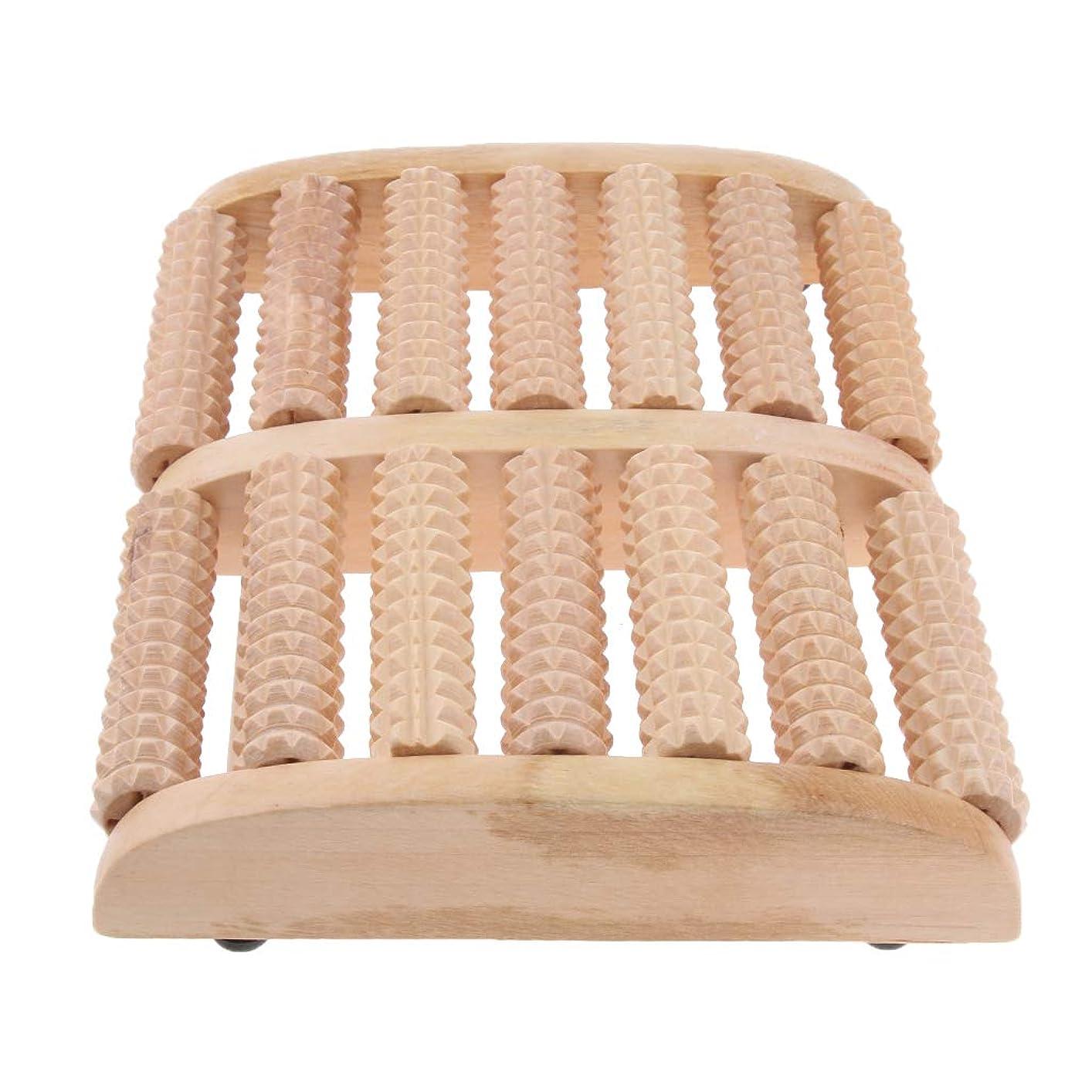 とげのある魔術座標IPOTCH マッサージローラー 7行 自然木製 足踏み フットマッサージ ツボ押し 痛み緩和 健康器具 高品質
