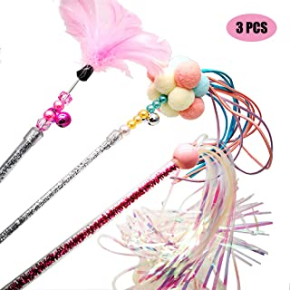 Cat Teaser Wands 3 PCS Cat Wands Interactive Cat Toys Cat Stick with Balls,  Feather and Tassel for Cat Kitten Having Fun Exerciser Playing