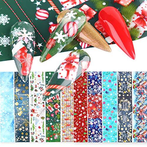 Christmas Nail Art Foil Transfer Stickers Winter Nail Foils Decals Nail Art Supplies Manicure Tips Accessories Design Xmas Tree Snowflake Snowman Santa Claus Bell Decor 10 Sheets