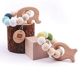 lot 98mm Bracelet Teether en bois rond bagues en bois inachev/ées pour DIY 10PCS Bague en bois naturel Toss pour peinture cadeau de No/ël