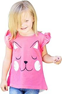 FengChi Little Girls Pink Kitty Cat Whiskers Ruffled Short Sleeve Shirt Top