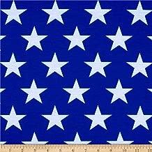 E.Z Fabric Poly Spandex Jersey Knit Stars Print, Royal/White