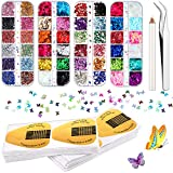 200 Pieces Acrylic Nail Forms Self-Adhesive Nail Tips Guide Stickers, 2 Boxes Butterfly Nail Art Stickers, 2 Boxes Horseshoe Circular Shaped Nail Art Rhinestones with Tweezers and Picker Dotting Pen