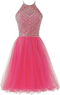 SOLOVEDRESS Women's A Line Tulle Beaded Short Prom Dress Evening Homecoming Party Gown Bridesmaid