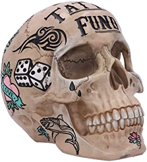Nemesis Now Natural Bone Coloured Traditional, Tribal Tattoo Fund Skull, Polyresin, One Size