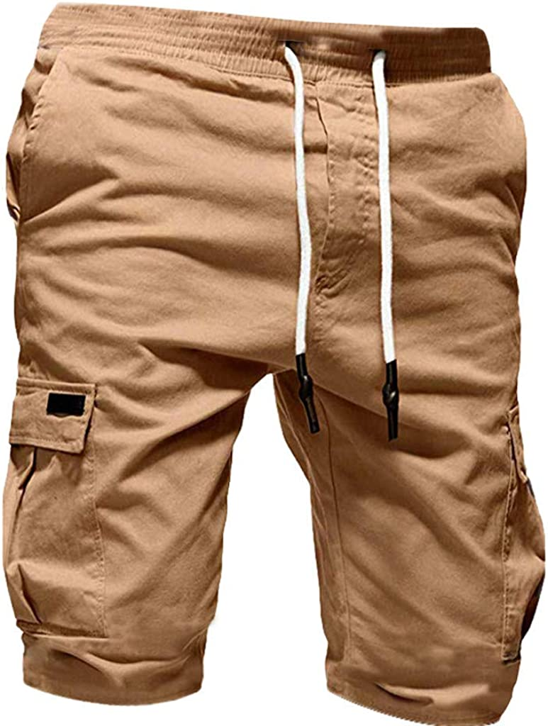 Men's Sports Shorts 2021 Summer Casual Versatile Cargo Shorts Solid Color Lace Up Pockets Athletic Shorts - Limsea