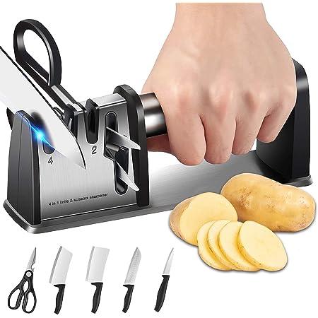 Afilador de cuchillos, cuchilla de cocina 4 en 1 y herramienta de afilar tijeras, accesorios de cocina profesional de 3 etapas con cepillo de limpieza ayuda a reparar, restaurar y pulir cuchillas