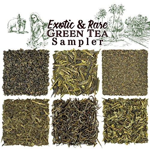 Solstice Exotic and Rare Green Tea Loose Leaf Tea Sampler Assortment (6-Variety), Dragon Well, Gunpowder, Sencha, Yunnan, Fannings, Chinese Pan-fired Approx 90+ Cups