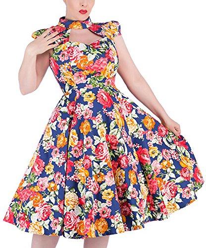 H&R London Kleid FLORAL Dress 9733 Blau L