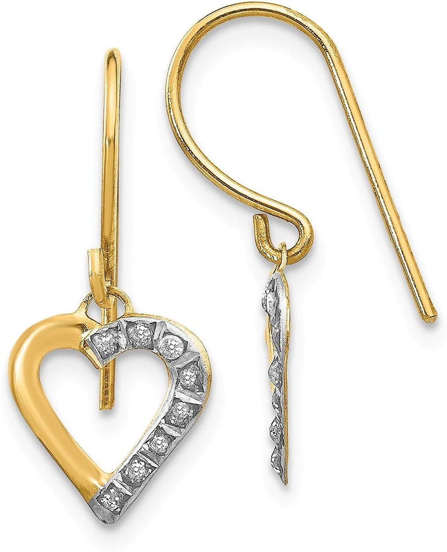 Beautiful Yellow gold 14K Yellowgold 14k Diamond Fascination Heart Earrings
